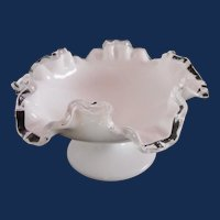"""Fenton ruffled Silver Crest 7"""" low compote"""