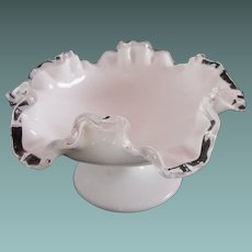 "Fenton ruffled Silver Crest 7"" low compote"