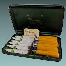 Bakelite serrated knives set by Regent of Sheffield