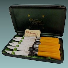 Bakelite serrated knives set by Regent of Sheffield