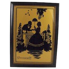 Reverse painting silhouette