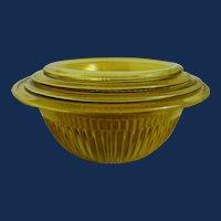 Set of 4 Federal Amber Rib mixing bowls