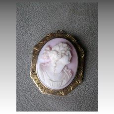 Gorgeous Pink Shell Cameo Brooch with 10k Gold Frame