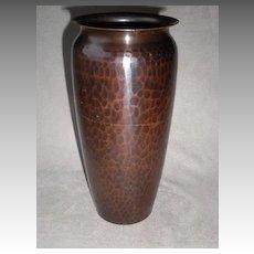 "Magnificent Large ""Roycroft"" Hand Hammered Copper Vase"