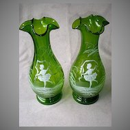 Magnificent Pair Antique Mary Gregory Vases