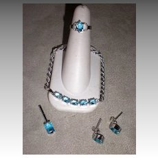 Stunning 18k White Gold & Blue Topaz 4 Pc Jewelry Set