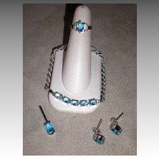 Stunning 18k White Gold & Blue Topaz 4 Pc Jewelry Set