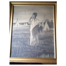 Original Charcoal Drawing by California Artist - Gordon Coutts (1868-1937)
