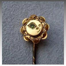 Wonderful 15k Gold and Emerald Stick Pin