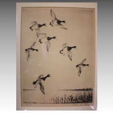 "Fabulous Listed Artist ""Churchill Ettinger (1903-1984)"" Etching - Ducks"
