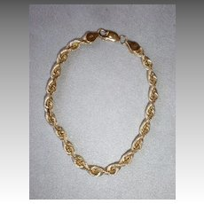 Awesome 14k Yellow Gold Twisted Wire Bracelet