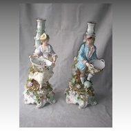 Stunning Pair Schierholz German Porcelain Figural Candle Holders