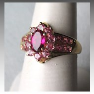 Beautiful 14k Rubellite and Pink Tourmaline Ring