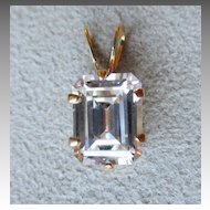 Beautiful 14k Gold and Emerald Cut CZ Pendant