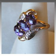 Gorgeous 10k Gold and Amethyst Ring