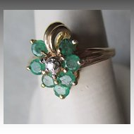 10k Gold with Emerald and Diamond Ring