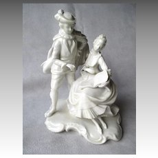 Dresden German Blanc de Chine Figurine Pair