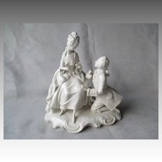 Dresden German Blanc de Chine Double Figurine