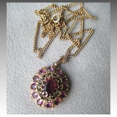 10k Gold and Amethyst with Smoky Quartz Pendant Necklace