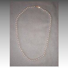 "17"" Strand of 5mm Pearls with 14k Gold Clasp"