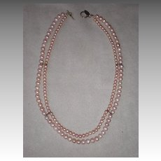 Double Strand of Pink Pearl Necklace