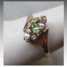 10k Gold and Tsavorite Garnet with Topaz Ring