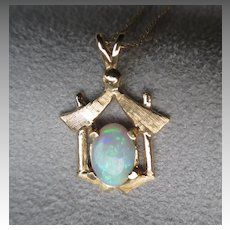 14k Gold and Opal Pagoda Style Pendant Necklace