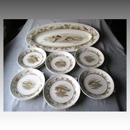 Haviland Limoges Fish Set - Platter and 12 Plates