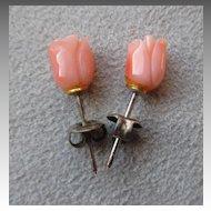 Carved Coral Flower Earrings