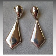 Big Sterling Silver Chevron Earrings