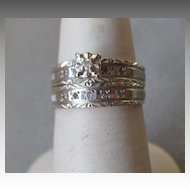 10k White Gold Engagement Ring Set
