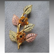 Black Hills Gold Leaf & Flower Pin