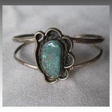 Vintage Navajo Stamped Turquoise Asymmetrical Bracelet
