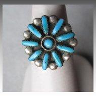 Vintage Zuni Needlepoint Turquoise Ring