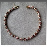 14k Gold  and Ruby with Diamond Tennis Bracelet