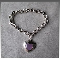 Sterling Silver and Lavender Jade Charm Style Bracelet