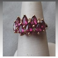 14k Gold and Dancing Rhodolite with Diamond Ring