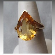 10k Gold and Large Pear Shape Citrine Ring