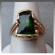 14k Fancy Cut Green Tourmaline and Diamond Ring