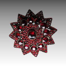 Victorian Bohemian Garnet Rose Cut Garnet Pin / Brooch