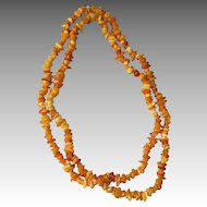 Long Opera Length Egg Yolk Amber Necklace