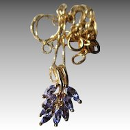 14k Gold and Tanzanite Pendant Necklace