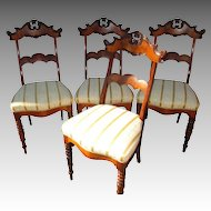Set of Four Matching Antique Dining Chairs