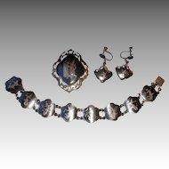 Vintage Siam Sterling Bracelet, Pin, & Earrings for Birks