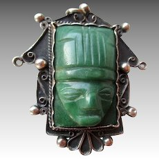 Mexican Silver and Jade Mayan Face Pin or Pendant