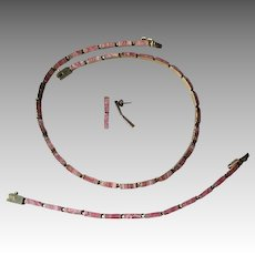 Sterling Vermeil Rhodocrosite Necklace, Bracelet, and Earrings