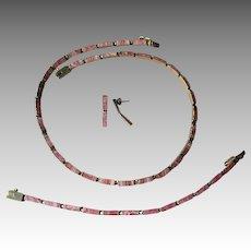 Sterling Vermeil Rhodocrosite Necklace, Bracelet, and Earrings