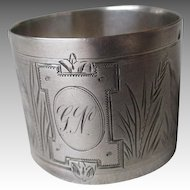 Engraved French Sterling Silver Napkin Ring