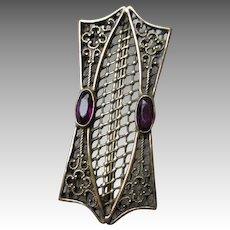Victorian Amethyst Filigree Pin or Brooch