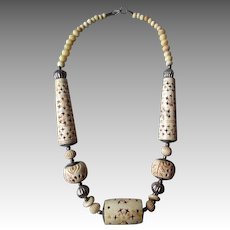 Carved Bone Ethnic Necklace